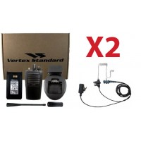 QTY 2 Vertex VX-261-G7 UHF 450-520MHz 4-Watt 16-Channel Two Way Radio and Surveillence Headsets