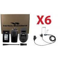 QTY 6 Vertex VX-261-G7 UHF 450-520MHz 4-Watt 16-Channel Two Way Radio and Surveillence Headsets