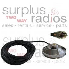 "Tram Browning 1239 UHF/PL259 Chrome 3 1/2"" Solid Coax Magnet Mount Kit with 17FT Cableand UHF/PL-259 Connector Installed"