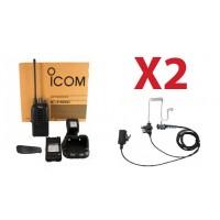 QTY 2 New Icom high powered UHF 450-512mhz 4 watt 16 channel two way radio and surveillance headset