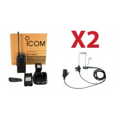 QTY 2 New Icom high powered UHF 450-512mhz 4 watt 16 channel two way radio and surveillance headset
