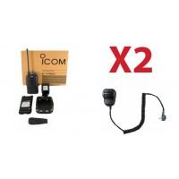 QTY 2 New Icom F4001 03 high powered UHF 400-470mhz 4 watt 16 channel two way radio and speaker microphone