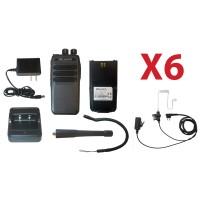 QTY 6 SRcommunications SR-D1U 400-470MHz 256 channels 16 zone 4W digital/analog DMR portable radios and surveillance headsets