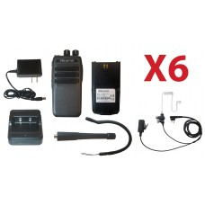 QTY 6 SRcommunications SR-D1U 400-470MHz 256 channels 16 zone 4W digital/analog DMR portable radios and free surveillance headsets