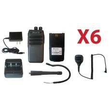 QTY 6 SRcommunications SR-D1U 400-470MHz 256 channels 16 zone 4W digital/analog DMR portable radios and speaker microphone