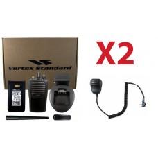 QTY 2 Vertex VX-261-D0 VHF 136-174MHz 5-Watt 16-Channel Two Way Radio and Remote Speaker Microphone