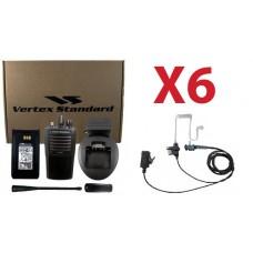 QTY 6 Vertex VX-261-G7 UHF 450-520MHz 4-Watt 16-Channel Two Way Radio and Surveillence Headsets