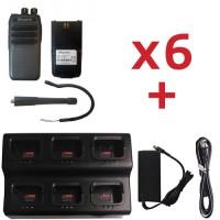 QTY 6 SRcommunications SR-D1U 400-470MHz 256 channels 16 zone 4W digital/analog DMR portable radios and free 6-unit charger